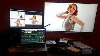 Studio montaggio video con foto di donna