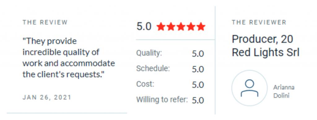 Clutch 5 star reviews